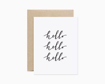 Hello card | Calligraphy hello card | Everyday note card | Simple stationery | GCE21