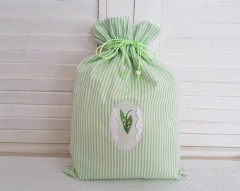 My Lily of the Valley embroidered on my pouch