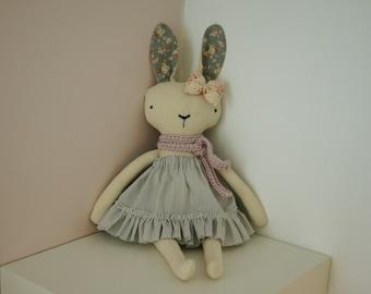 Rabbit Handmade Doll, stuffed toy, plush rabbit, stuffed animal, cloth doll, Doll Fabric rabbit, Linen Dolls,decorative toy, baby gift