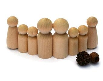 Wooden PEG DOLLS - Medium double Family < wood people peg doll. Waldorf Steiner craft supplies Blank - Reggio peg dolls DIY Craft Australia
