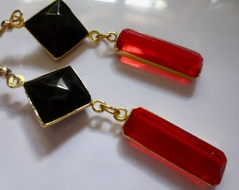 Art Deco earrings earrings red drop earrings black earrings Art Nouveau 1920s 1930s geometric earrings vintage style