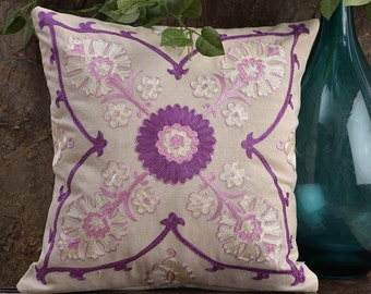 """Floral Galore Embroidered Purple Pillow,Suzani Pattern,Decorative Pillow,Throw pillow cover,cushion cover,Standard Size 16"""" x 16"""""""