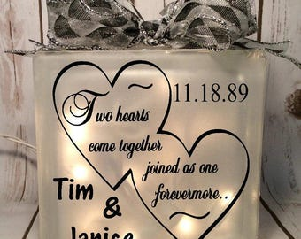 home decor lighted 8x8 glass block two hearts come together joined as one forevermore, wedding gift, bride, anniversary, gift for couple