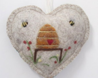 Bee loved felt Heart ornament, needle felted Traditional Bee Hive scented heart, personalised with name