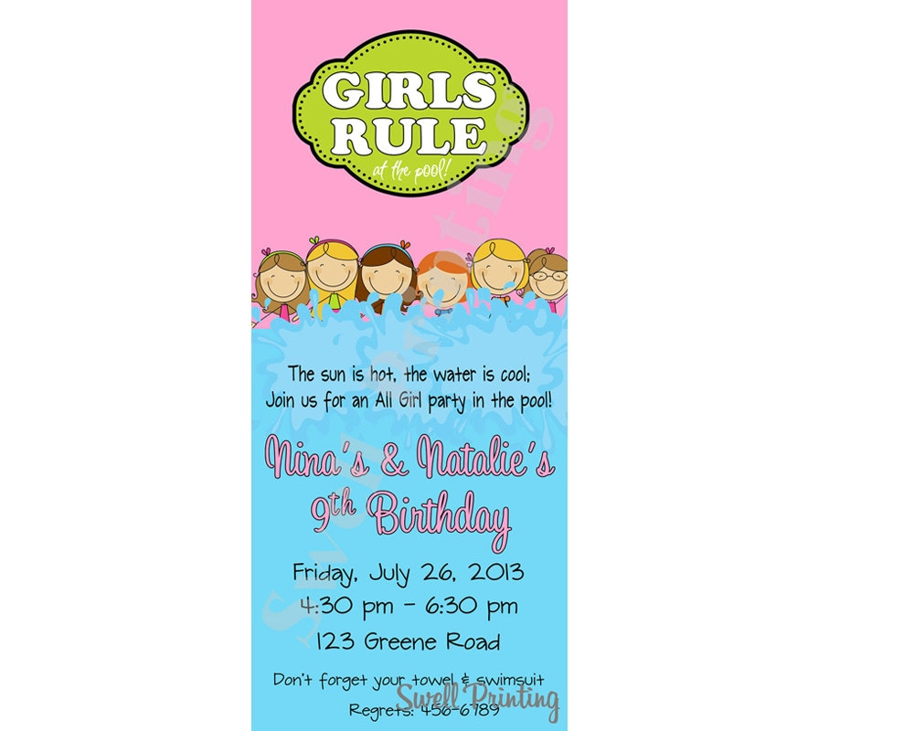 Girls only pool party invitation girls rule pool birthday description girls only pool party invitation monicamarmolfo Choice Image