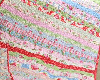 MADE TO ORDER Custom Baby Crib Quilt Girl Blanket Vintage Inspired Shabby Decor Style Delilah Fabric by Tanya Whelan