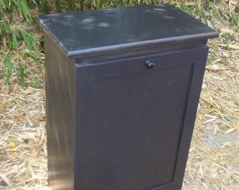 Oak  tilt out Trash bin stained ebony