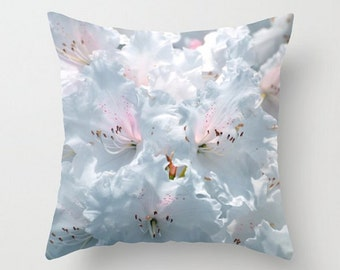 Soft Pastel Pillow, Dreamy Throw Pillow Covers, Cool Blue Cushion, Pale Blue Art Photography, White, Pink, Spring Flower, Garden Home Decor