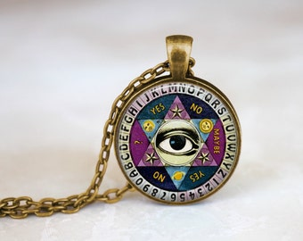 Ouija board necklace, Vintage Quiji Board, Illuminati Necklace, Psychic Palm Reader Necklace, Halloween Necklace, Halloween Jewelry, ZM153-9