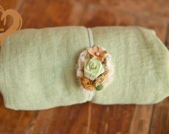 2 item set  Eco Sage green gauze baby wrap 5 feet gauze newborn swaddle & mossy  flower head tie 2 item set open weave 100% cotton wrap