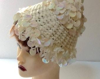 Vintage Knit Slouchy Hat / Ivory Pailette Hat / Winter Hat / 1960's / Hipster / Ski Hat / Retro / Boho / Hippie / High Fashion
