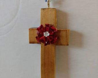 wooden cross with red flower and beaded chain rear view mirror charm or can be used just as hanging cross