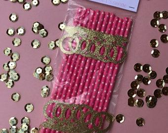 Gold Glitter Diamond Ring Straws- Set of 12