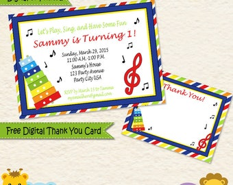 Music Themed Personalized Invitations Thank You Cards Primary Colors Printed and Digital / 014C3