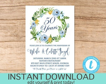 Anniversary evite etsy anniversary invitation 50th anniversary party invite any year surprise floral anniversary invitation solutioingenieria Images