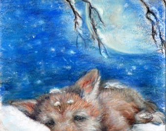 Wolf Cub children Nursery, baby animal, wildlife Canvas or Cotton art paper print, 'Sleepy Wolf Cub on a Pillow of Snow' Laurie Shanholtzer