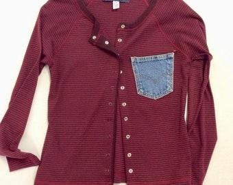 Snap Front Wine Cotton Striped Cardigan Tee Levi Pocket