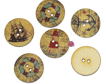 10 buttons vintage sea boat buoy Lighthouse wooden anchor 2 cm - 2 holes