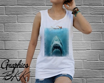 JAWS Shirt Women's Tank Top Shirt jaws t-shirt shark attack T-Shirt movie surfing beach tee (S-XL)