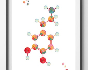 Dopamine Molecule watercolor print dopamine formula poster science Art dopamine chemical structure medical art biology art wall decor [917]