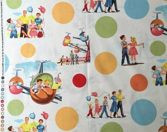 Michael Miller Fun Park (BTHY) 50x110cm, collectible, hard to find Michael Miller fabric, vintage fabric, retro fabric