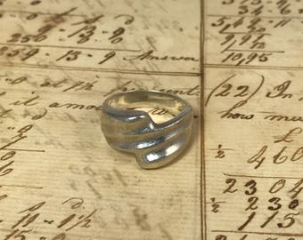 Vintage Sterling Silver Abstract Wave Ring