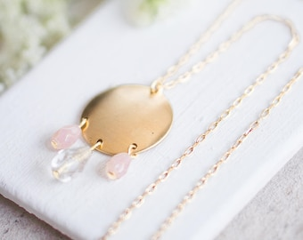 Blush and Crystal Pendant Necklace, Pink Pendant Necklace, Pink And Crystal Necklace, Bridesmaids Jewelry, Wedding Necklace, Blush Necklace