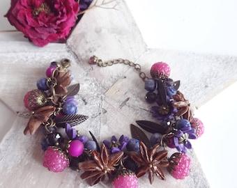 Polymer clay fruit bracelet