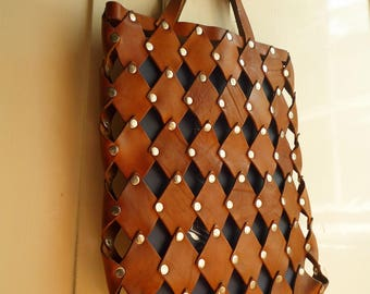 vintage leather handbag bag tote bag from the 60' made by hand riveted made by hand