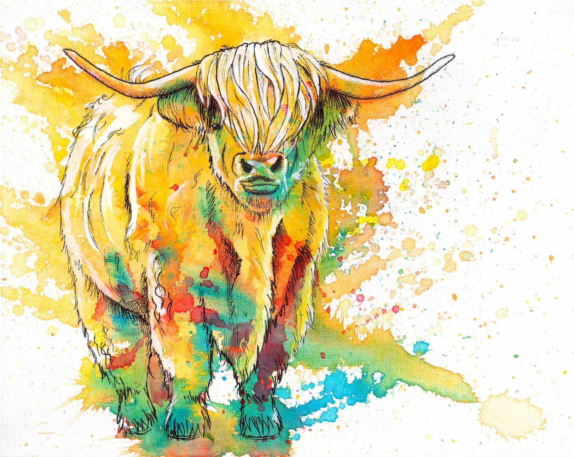 Highland Cow Original Painting 8x10 small and colorful canvas