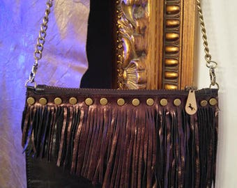 Leather Clutch, Fringe Purse, Clutch, Leather Purse, Leather Fringe Bag, Evening Bag, Boho Bag, Boho Leather Bag, Black Leather Purse