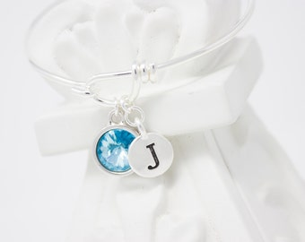 Personalized Bracelet March Birthstone and Initial Silver Bangle Bracelet Choose Your Color and Initial