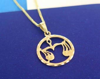 14k Libra Necklace - Libra Necklace - Gold Libra Pendant - Gold Zodiac Necklace - Gold Zodiac Pendant - Zodiac Jewelry - Libra pendant