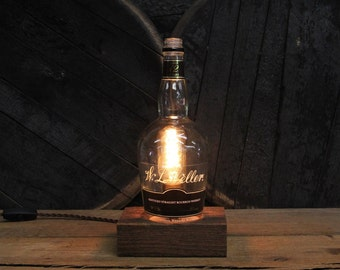 W. L. Weller 12 Year Bourbon Lamp - Features Reclaimed Wood Base, Edison Bulb, Twisted Cloth Wire, In line Switch, And Plug, Handmade Light