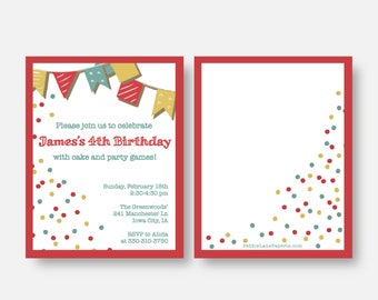 Birthday Party Invitation - classic, vintage, party games, bunting, banner, neutral, red, yellow, teal.  Customizable colors, etc.