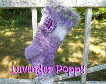 Lavender Poppy Christmas Stocking Hand Knitted