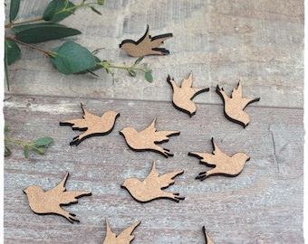 Set of 10 birds blank height 3 cm thickness 3mm