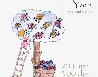Digital clipart, knitting clipart, Clipart Yarn, Knitting, Crafts, Balls of Yarn, Skeins of Yarns, Crochet, watercolor clipart