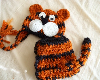 Tiger  Hat and Cover Set - Baby Hat - Baby Tiger Hat and Cover - Halloween Costume - Tiger  Hat Set - by JoJosBootique
