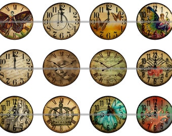 """1"""" Inch Shabby Clock Face Flatback Buttons, Pins or Magnets 12 Ct."""