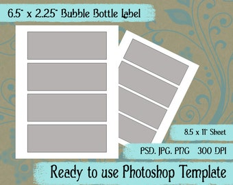 """Bubble Bottle Label - Digital Layered Collage Sheet Template:  6.5"""" x 2.25"""""""