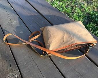 Clutch Bag S : Kraft clutch paper bag long strap/crossbody bag/leather wristlet with detachable shoulder bag strap/YKK zipper
