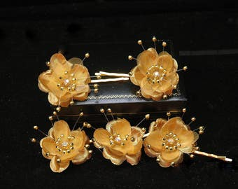 Set of 6 Gold Flower Hair Pins Wedding Hair Accessories, Bridal Hair Pins, Wedding Hair Pins, Bridesmaids Hair Accessories,