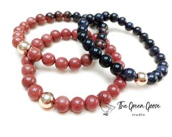 Goldstone beaded bracelets, gift for her, womens bracelet, goldstone beads, set of bracelet, gift for girlfriend, ombre bracelets, autumn