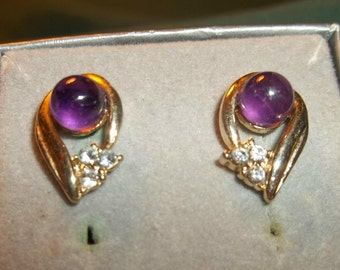 Vintage Estate Amethyst Gold Earrings