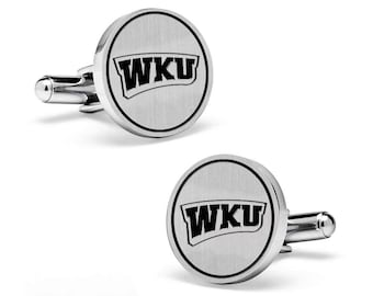 Western Kentucky University Hilltoppers WKU Cuff Links   Sterling Silver   College Cufflinks   Custom Cufflinks   Officially Licensed