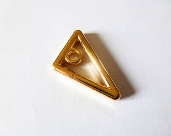 2 charms 19 * 25 mm triangle geometric metal Golden (SFBD04)