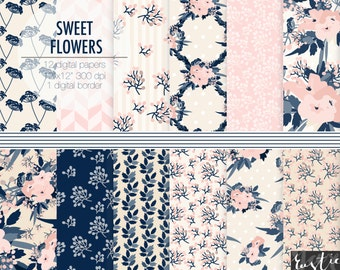 Floral digital paper, flower scrapbooking digital paper in pink, navy, cream. Wedding flowers clipart digital paper pack.