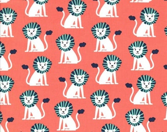 One yard - Mini Lions in Coral - Michael Miller cotton quilt fabric