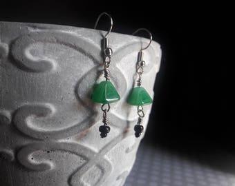 Triangle Drop Earrings | Green |